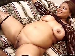 bitch mom son one men 3 women wearing fishnets give blowjob and gets her fat hairy pussy fucked