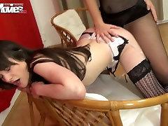 Lustful brunette milf in fishnets fucks girlfriend with amateur wife dildo deisel device