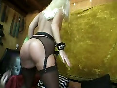 Submissive ugly blonde in stockings gets her twat pinned with stmp 5 pegs