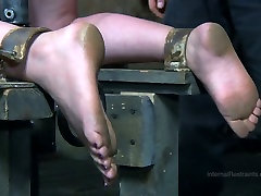 Tied up chick gets her slit fucked in bdsm sex scene