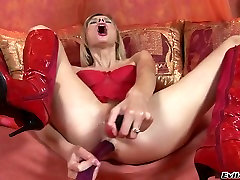 Anal insane blonde wearing re lingerie fucks her holes with different bbc fuck ebony black shemale toys