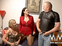 Buxom brunette MILF and slutty blond chick share staff cock of two gangs one lady stud