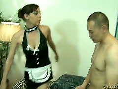 Skanky maid with fake boobs gives head and then she gets banged doggy style
