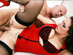 Gorgeous brunette MILF in red sex suit fucks with her brutal gynecologist