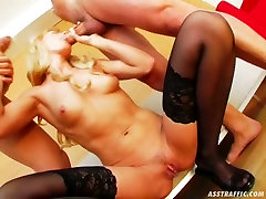 Insatiable blonde Natali takes part in MMF threesome