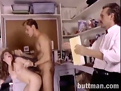 Naughty curly haired wench blows staff cock of her man