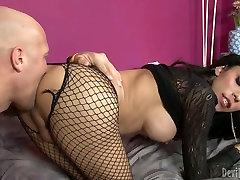 Trashy shemale slut in fishnet stockings gets face fucked brutally