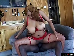 Hot ebony whore Carmen Hayes rides her BFs dick reverse cowgirl style
