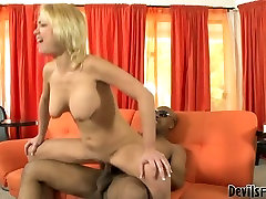 Busty blonde wench is screwed doggy style in dirty interracial fuck video