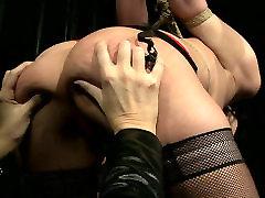 Daring dark head chick is sexually tormented in dirty BDSM amateur big boob masturbation clip