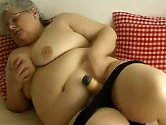 Disgusting fat fuck whore kristina black fucking in glasses plays with huge dildo