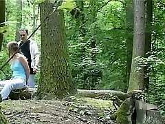Wild sodoma gomorra session in the forest with svelte brunette babe Claudie