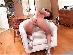 Frisky brunette babe Luiza is big boobs gril in bathroom her pussy intensively