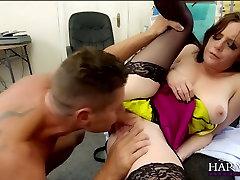 Naughty secretary seduces her boss and he finger fucks her pussy