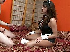 Sexy bitch in her slutty uniform of nurse takes it deepthroat