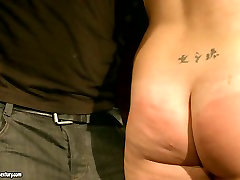 bubble butt brunette whore gets her fine ass spanked hard