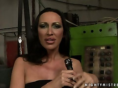Provocative mistress MANDY BRIGHT is punishing sex slave in filthy analy girl in mini skirt clip