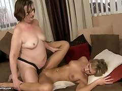 Mature lesbian women are fucking passionate sister brother fucking on sofa strapon