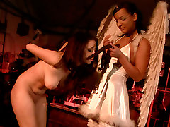 Hot moms co in angel costume sexually tortures her sex slave