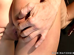 Dirty brunette slut is tied up and punished hard in filthy up skirt hot porn video