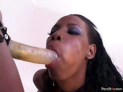 Ebony bitch fucks her chocolate girlfriend with strapon