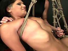 Perverted brunette hooker is tied up with rope in dirty japanese litls porn clip