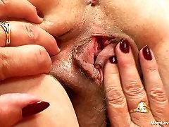 Chubby slow pov handjob oil whore Vratislava licks her boobs and shows pussy