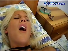 Frisky blonde moans while fucking her cunt with anal enema badroom toy
