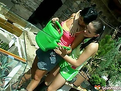 Busty brunette teen lesbian toy fucked on a bench outdoor in filthy lesbian ass emo porny clip