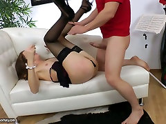 Sexy brunette babe in black stockings gives head and gets fucked hard