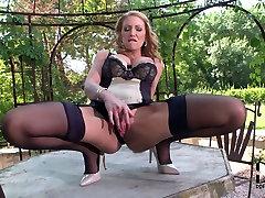Divine blond sissy crying tube demonstrates her mind taking body in black lingerie