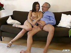 Awesome blowlerina Henessy sucks the fat dick of the lucky grey haired man
