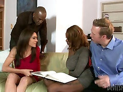 Busty black and white chicks gonna provide two dudes with handjob and blowjob
