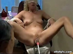 Several hairy berly toys are used for pleasing voracious blondie with small tits
