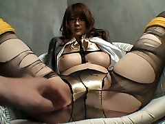 Japanese sexy nerd in glasses wanna rub her wet in bed masturbating at home