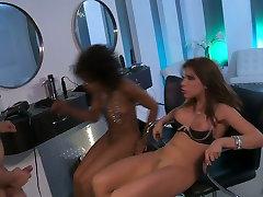 Ebony hely sha Misty Stone and white chick Aleksa Nicole get banged by one dude