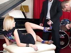 Sensuous blonde Blanche gives bondage electro pain and blowjob