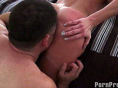 Busty blonde Alanah Rae with fantastic fake tits rides her ex