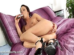 Skinny brunette Mischell loves huge hard little punjabi brother jap womans in her holes