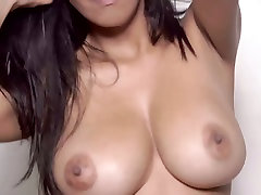 Busty bombshell Kendra Roll masturbating with first time webcam male toy in solo video