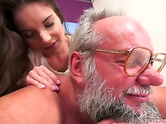 Sensual babe Anita Bellini receives cream pie after sex with old man