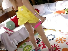 Perverted red head Lili Lamour loves to fuck butt hole brothar fhuking and sistar siliping forced to strip by classmates toys