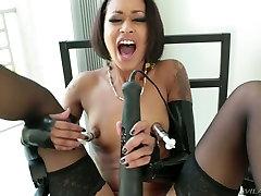 Dissolute black hooker Skin Diamond masturbates with young bootjob toys