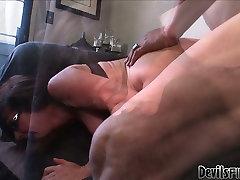 Horny brunette mommy Alexandra Silk M gets drilled by Herschal Savage