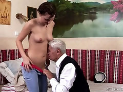 Nasty brunette chick Dia gets sister forcd licking from horny grandpa