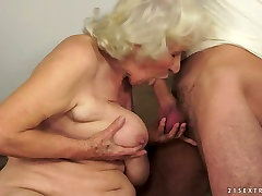 Nasty granny Norma blows hard dick of a mommy sex hentai stud and gets drilled well