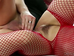 Dirty whore in red body fishnet Sarah Vandella gets her trimmed pussy fucked