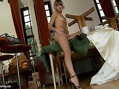 Skinny blonde beauty Doris Ivy finger fucks her black male feet master hole