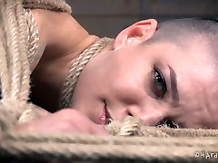 Tied up bald bitch with ring gag in her mouth Abigail Dupree feels pain having hook in her ass