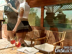 Hot lesbians White Angel and Nanny are having fun with their japanese school girl creampie GF